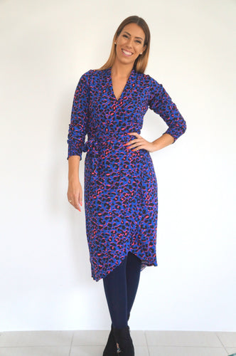 The Cuff Sleeves Wrap Dress - Blue & Hot Pink Animal Print - Midi