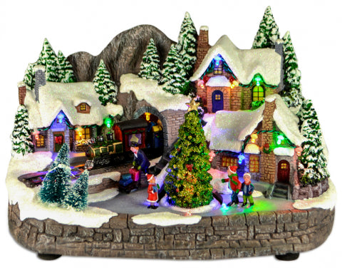 Christmas Polyresin Train Tunnel Village Scene 31cm