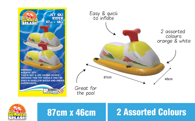 Summer Fun Pool Inflatable Jet Ski Rider 87x46cm