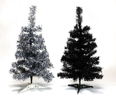 Christmas Tree 60cm Plastic - Black/White Black
