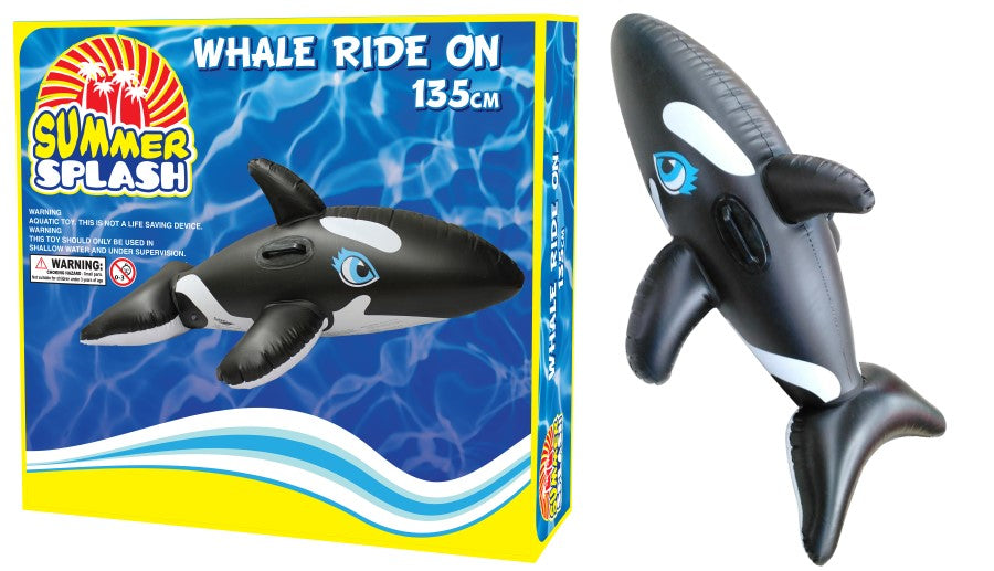 Summer Pool Whale Ride On Inflatable 135cm