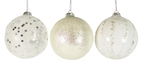 Christmas Glass Bauble White Silver 80mm