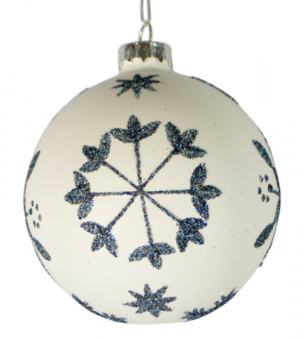 Christmas 80mm Matte White Blue Glitter Flower Bauble Ball