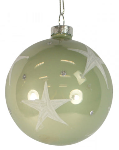 Christmas 80mm Gloss Green White Glass Bauble Ball
