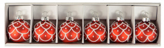 Christmas 6pk Glass Bauble Red Place Markers