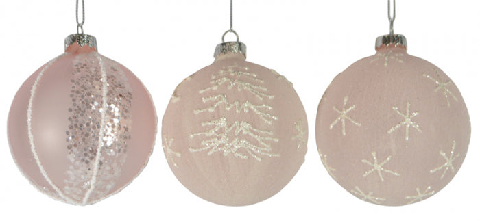 Christmas Glass Bauble Pink Glitter Bauble 80mm