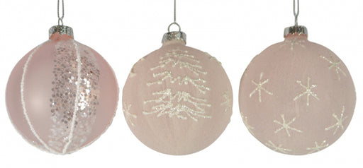 Christmas Pink Glitter Glass Bauble Ball 80mm Assorted