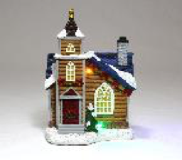 Christmas LED Light Up Church Scene
