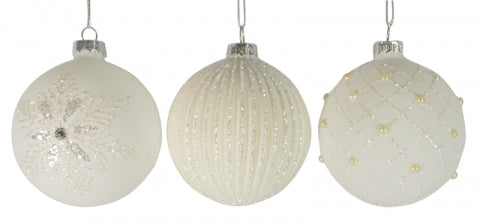 Christmas 80mm Matte White Silver Glass Bauble Ball