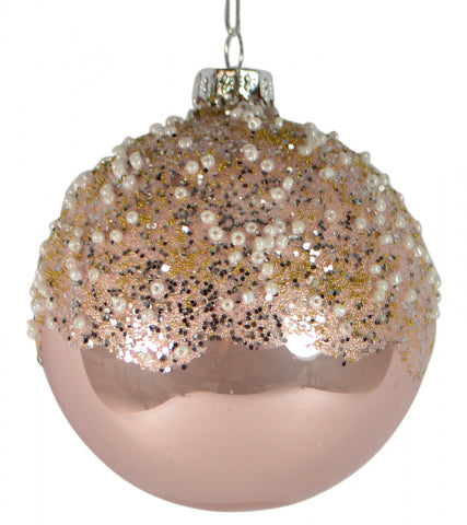 Christmas 80mm Pink Snow Bead Glass Bauble Ball