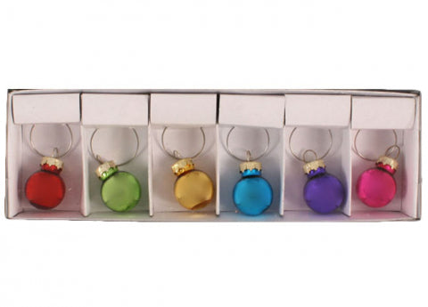 Christmas 6pk 2cm Ball Wine Glass Charms