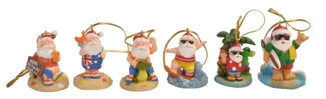 Christmas Aussie Hanging Santa Ornaments