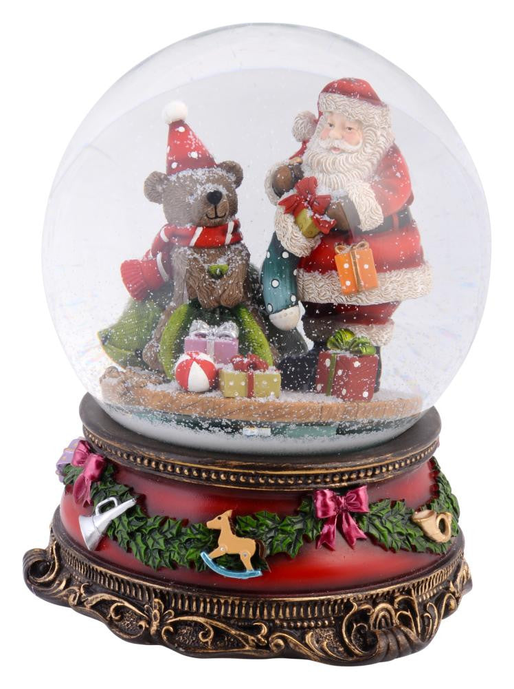 Christmas Jolly Santa Musical Snowglobe 150mm