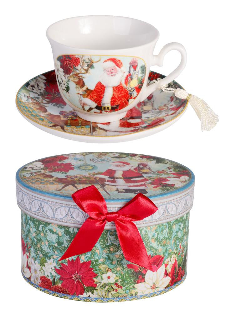 Christmas Joyful Santa Teacup & Saucer Set