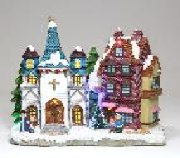 Christmas LED Church and House Scene