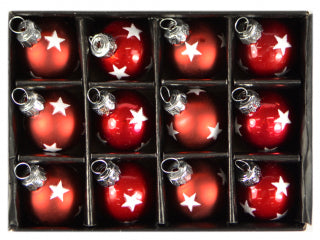 Christmas 12pk Mini Glass Bauble Balls - Red Silver Star