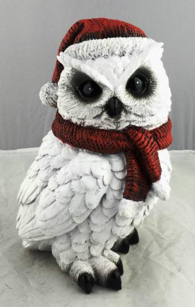 Christmas Owl White with Santa Hat 22cm