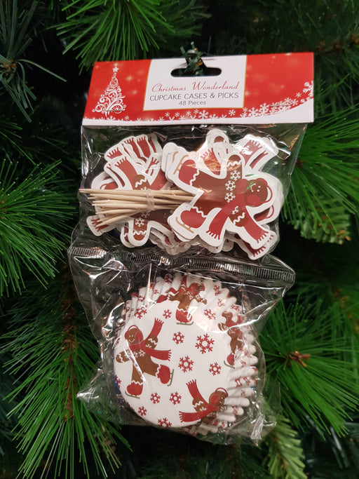 Christmas Cupcake Cases & Picks Set 48 pc