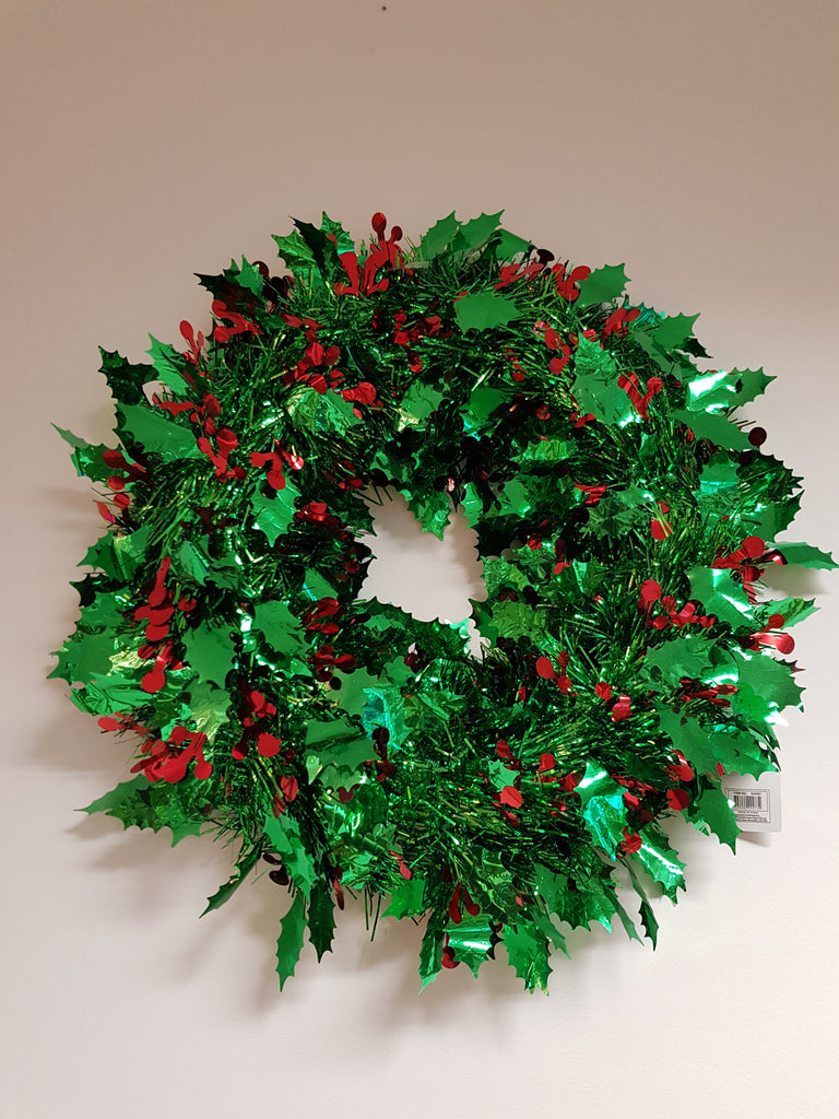 Christmas Tinsel Wreath with Berries 38cm