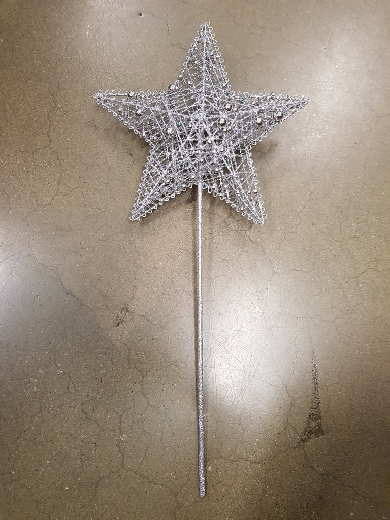 Christmas Tree Star Topper 20cm Silver