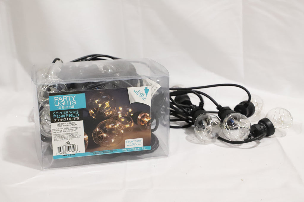 Christmas Party String Bulb Lights 10pk - Multicolour/Warm White