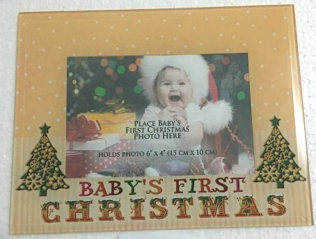 Christmas Glass Baby's First Photo Frame