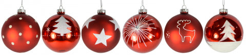 Christmas Glass Red Baubles Assorted 80mm