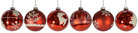Christmas Glass Red Baubles Assorted #2 80mm