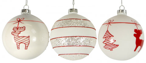 Christmas Glass White Red 80mm Baubles
