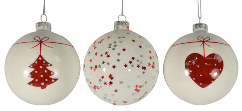Christmas Glass White Red Bauble 80mm