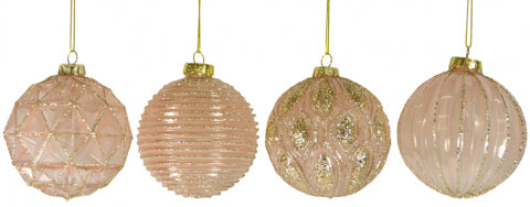 Christmas 80mm Enamel Pink Glass Bauble Ball Assorted