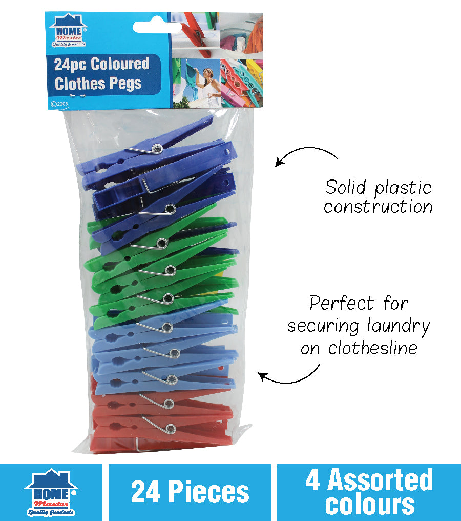Coloured Plastic Clothes Pegs 24pk