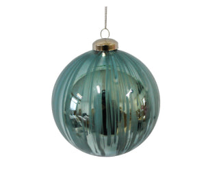 Christmas 80mm Glass Gloss Aqua Bauble Ball - Brush Stroke