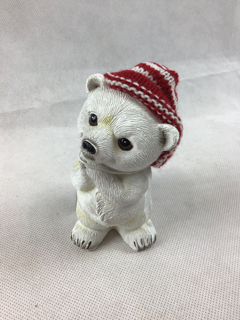 Christmas White Bear with Beanie Ornament 11cm
