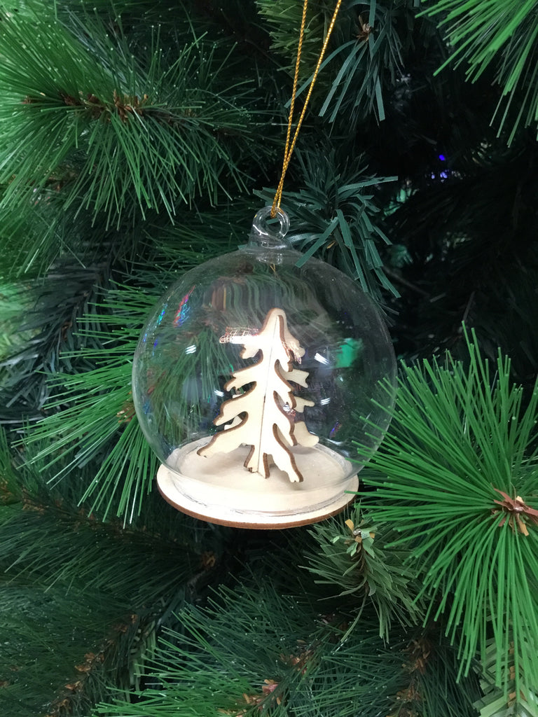 Christmas Wooden Natural Glass Bauble