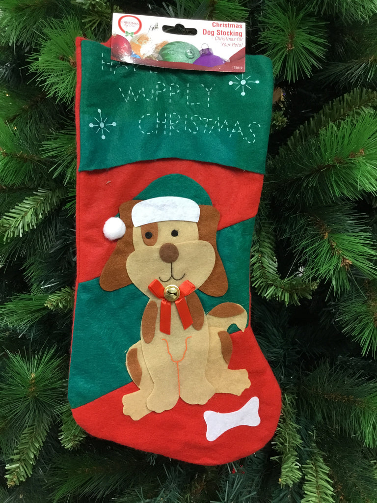 Christmas Dog Felt Stocking 40cm