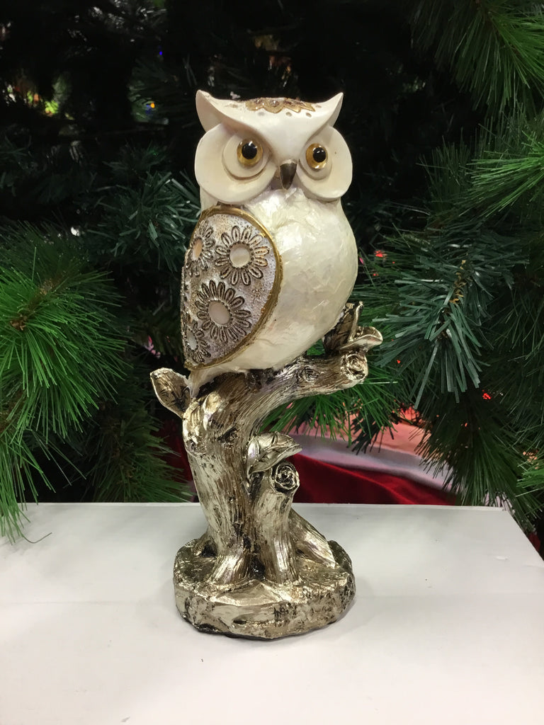 Home Decor Gold Ivory Owl on Branch 21cm