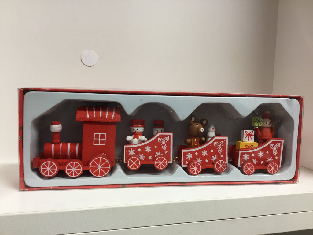 Christmas Wooden Train Set 4pc
