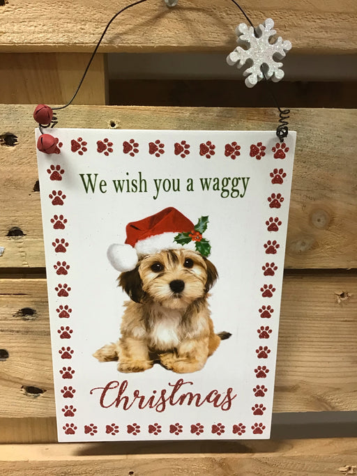 Christmas Wooden Dog Plaque