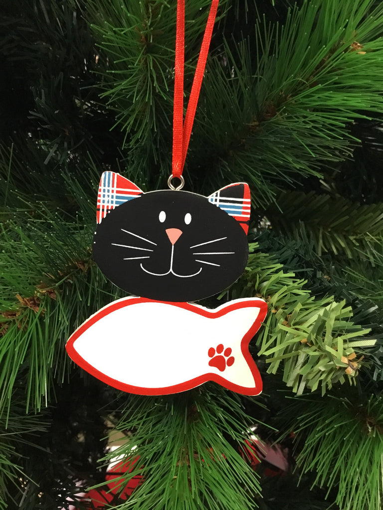 Christmas Cat Name Hanging Ornament 9cm