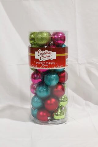 CHRISTMAS BAUBLES 60MM 35 PACK ASSORTED COLOURS