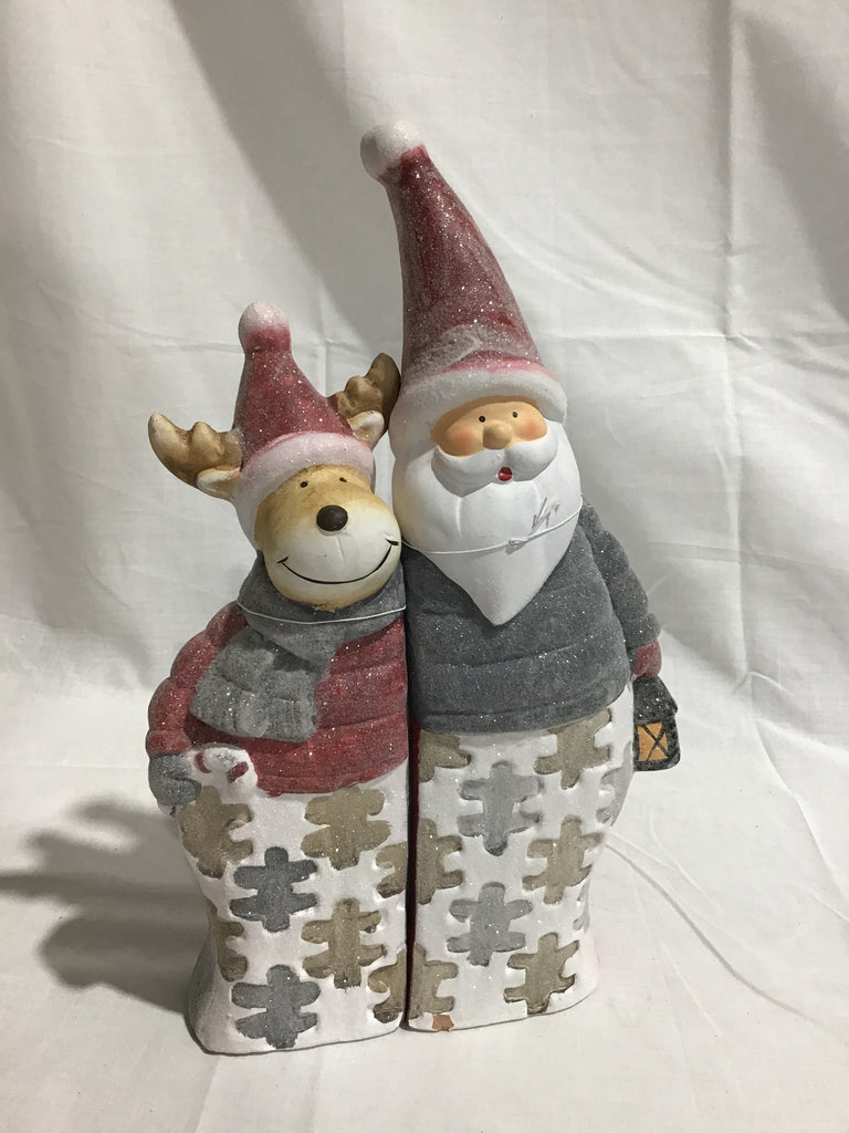 Christmas Santa & Deer Puzzle Set of 2 Ornaments