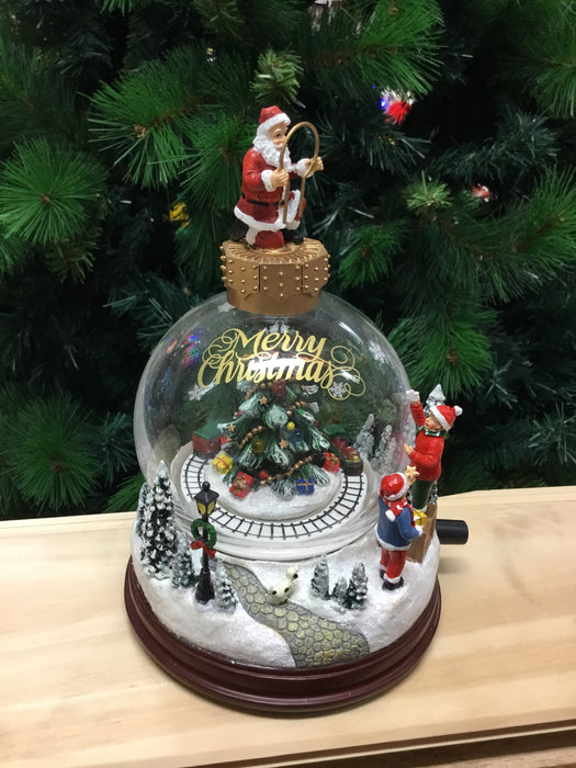Christmas Santa Globe Glass Scene Ornament