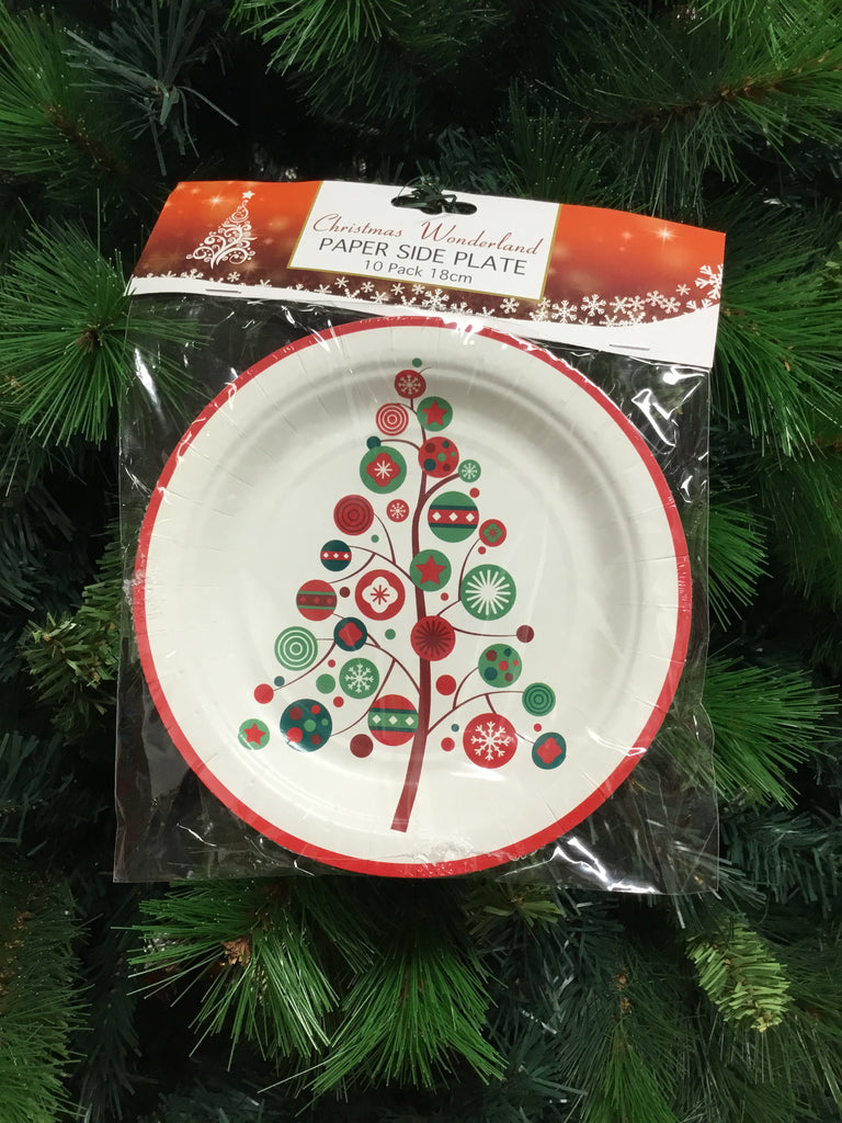 Christmas Side Paper Plate 18cm 10pk