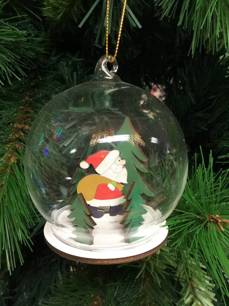 Christmas Glass Wooden Decorative Bauble