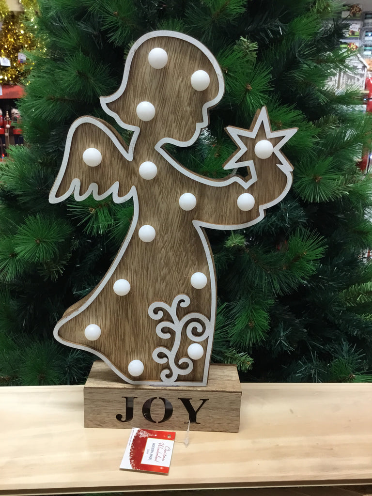 Christmas Wooden Angel Light Up 33cm Assorted