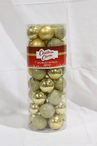 Christmas Baubles 40pk 60mm Red/Gold/Silver/White