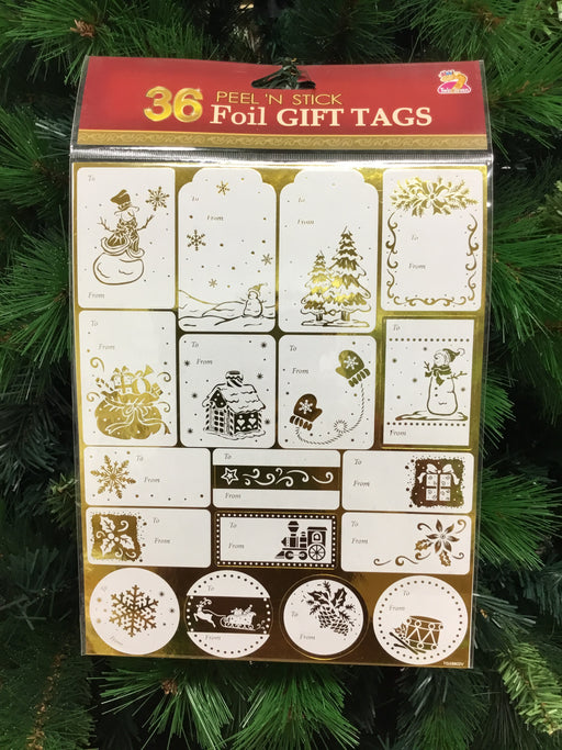Christmas 36 Foil Gift Tag Sticker Silver/Gold
