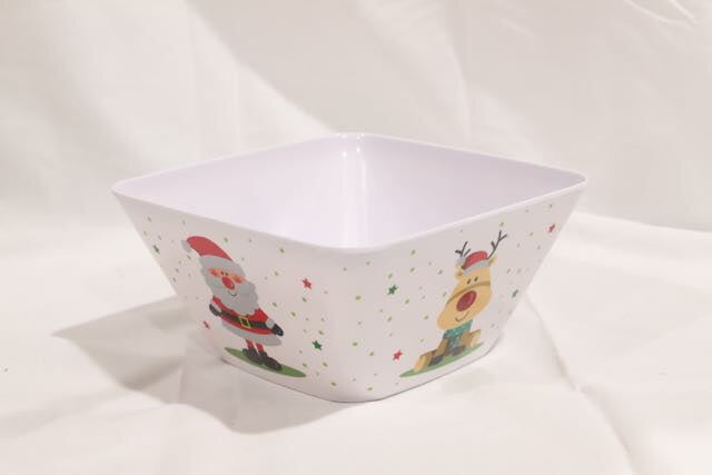 Christmas Melamine Square Bowl Medium Ast