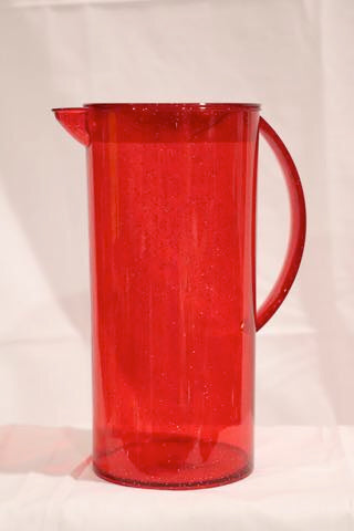 Christmas Pitcher with Lid Glitter Red / Green
